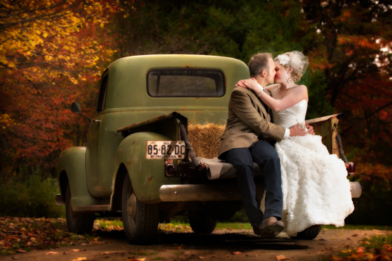 classic truck fall wedding bride and groom