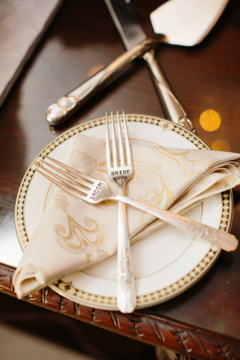 bride groom forks