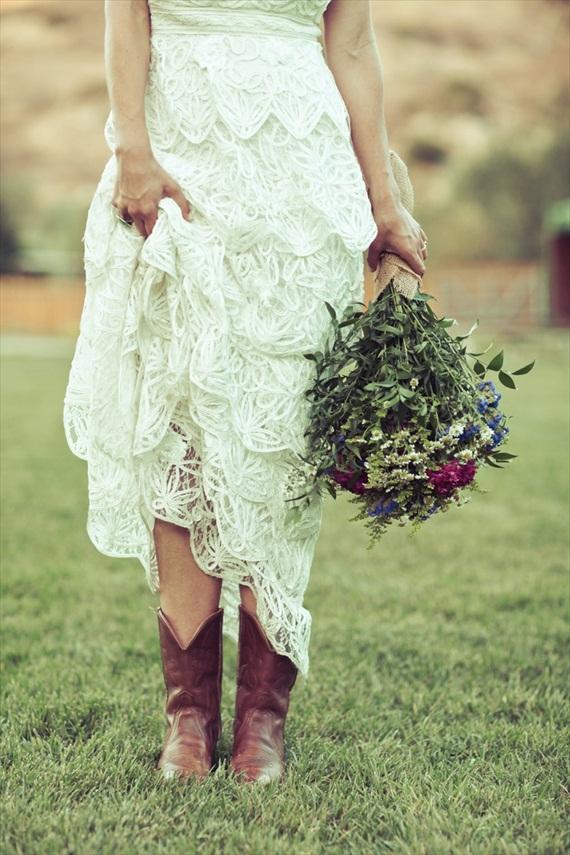 bride in cowboy boots - via 3 Cute Cheap Wedding Cowboy Boots
