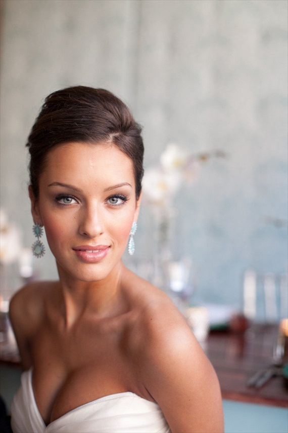 bride up close earrings sleek updo
