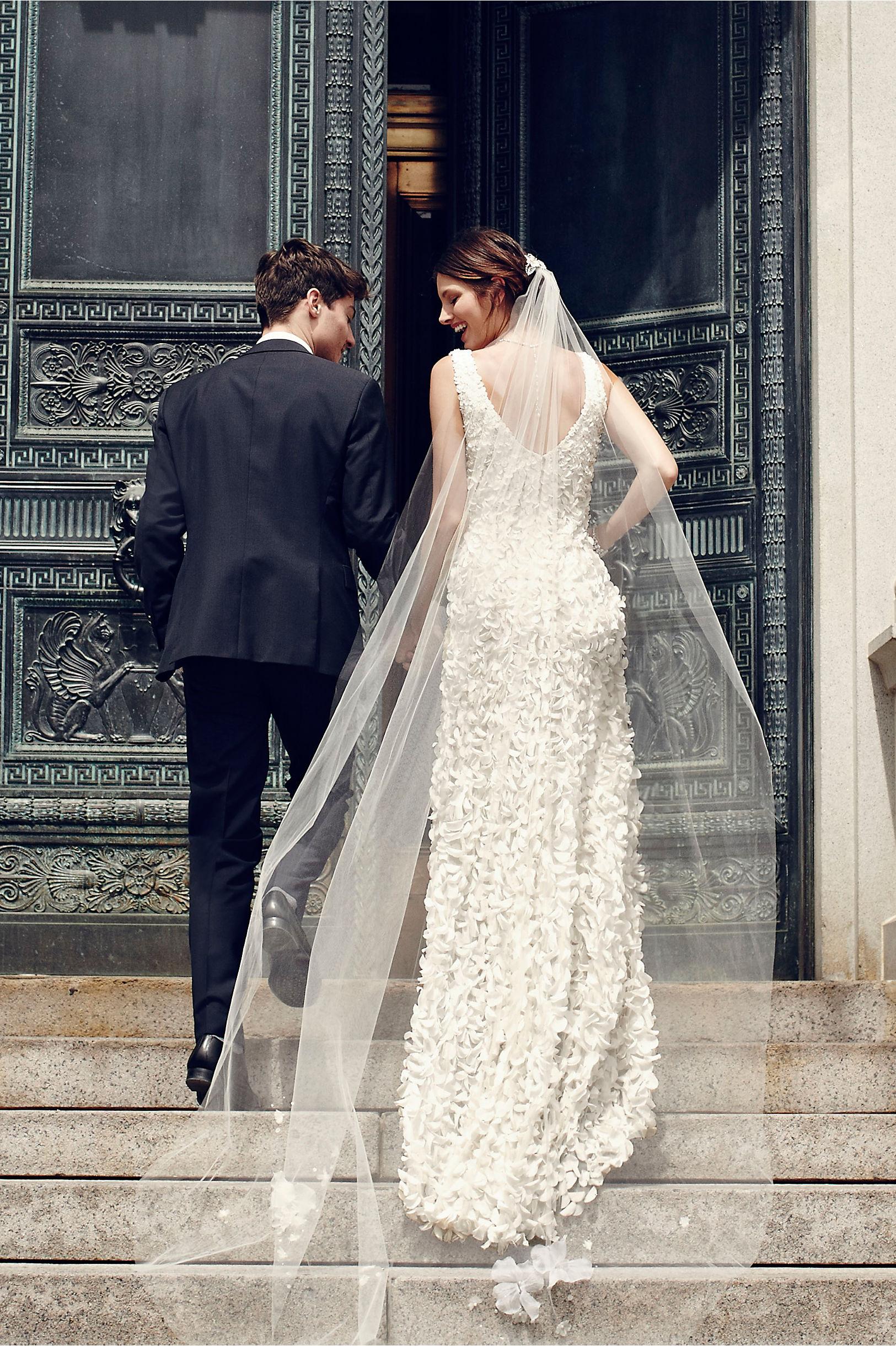 petal wedding dress in ivory