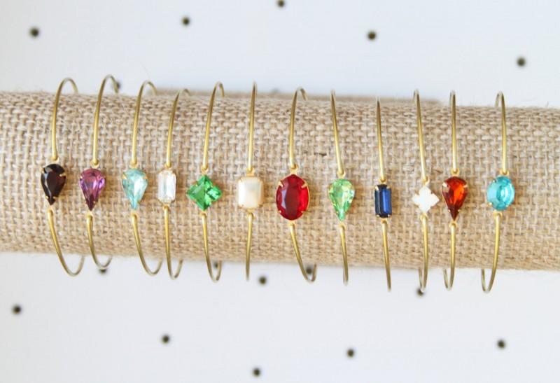 bridesmaid birthstone bracelet | https://emmalinebride.com/gifts/bridesmaid-bangle-bracelets/