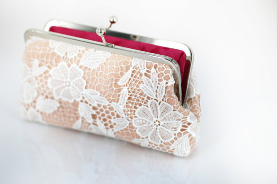 bridesmaid clutch in lace