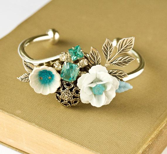 blue floral cuff bracelets