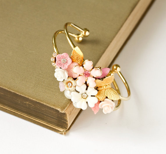 pink and cream floral cuff bracelets