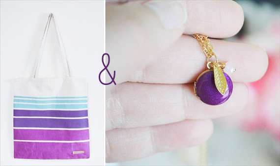 bridesmaid gifts under 50 - purple ombre tote and purple locket