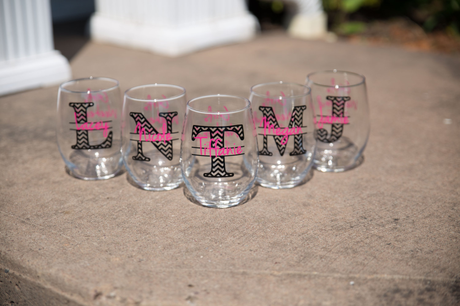 bridesmaid glasses by waterfall designs | fun bachelorette party ideas | http://emmalinebride.com/planning/fun-bachelorette-party-ideas/
