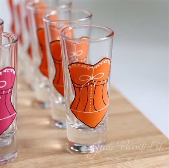 Bridesmaid Shot Glasses (by Judi Painted It via EmmalineBride.com) #handmade #wedding