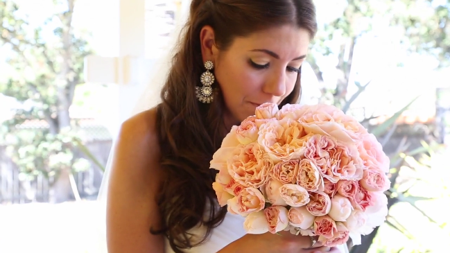 bride with bouquet for her Sova Gardens wedding film