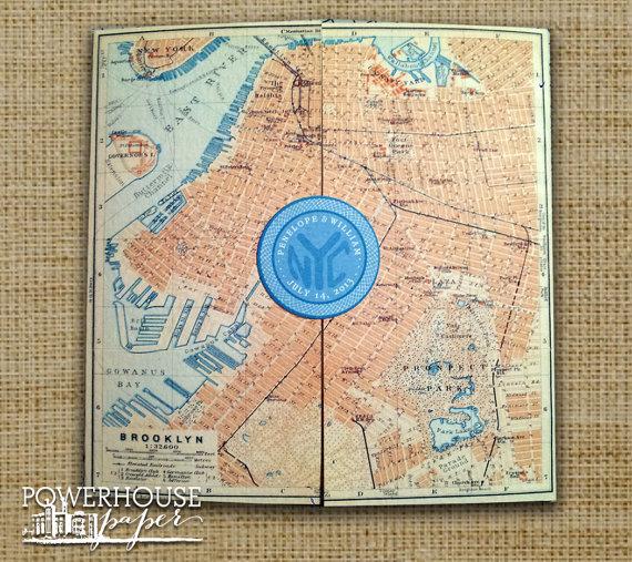 brooklyn antique map wedding invitation