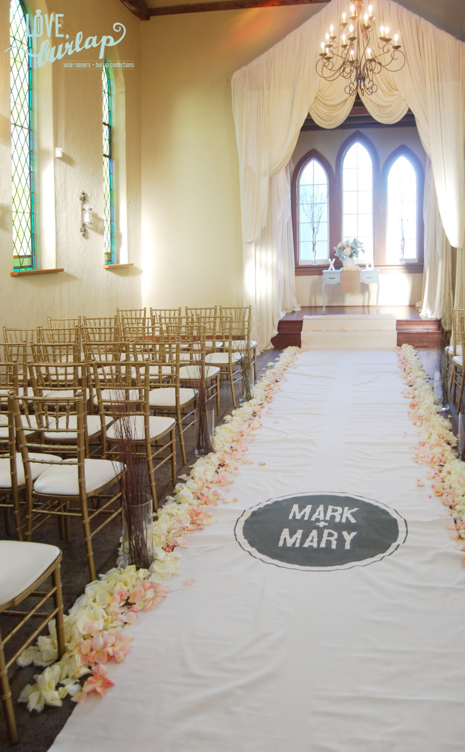 burlap aisle runner names | 50 Best Burlap Wedding Ideas | via http://emmalinebride.com/decor/burlap-wedding-ideas/