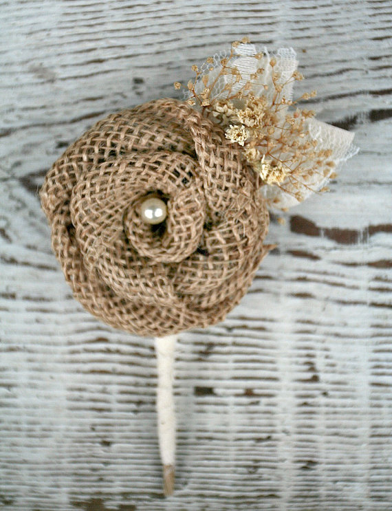 burlap and creme boutonniere