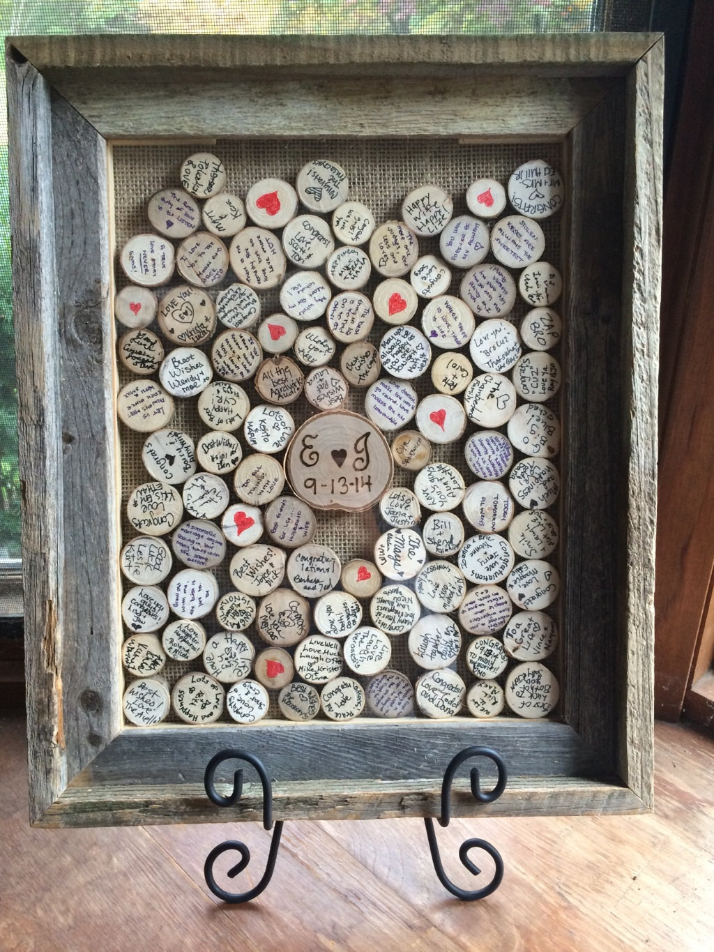 burlap backed frame guest book alternative | 50 Best Burlap Wedding Ideas | via http://emmalinebride.com/decor/burlap-wedding-ideas/