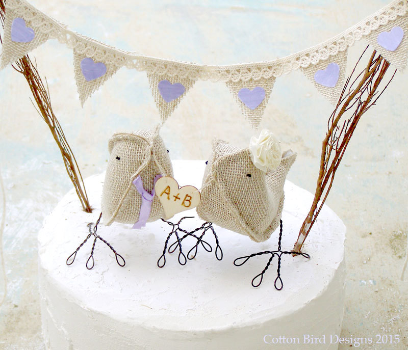 birdie cake topper burlap | 50 Best Burlap Wedding Ideas | via http://emmalinebride.com/decor/burlap-wedding-ideas/
