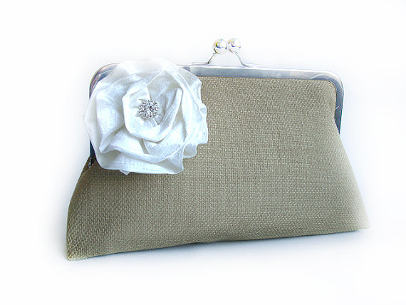 burlap clutch purse - personalize clutch with texture