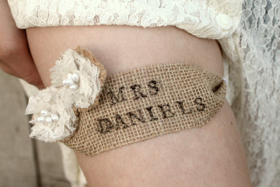 burlap garter with your new name
