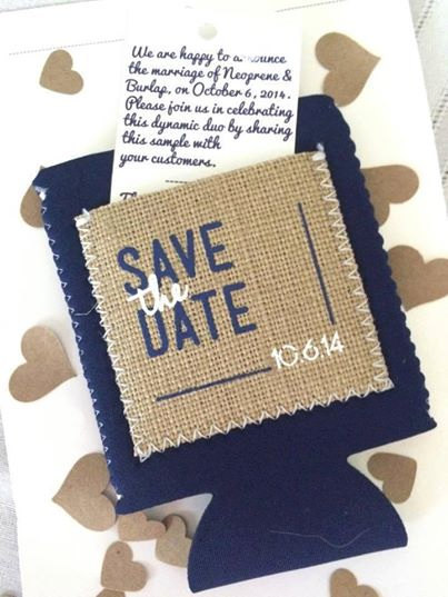 burlap koozie save the dates | 35 Easily Beautiful Ways to Use Burlap for Weddings https://emmalinebride.com/rustic/ways-use-burlap-weddings/