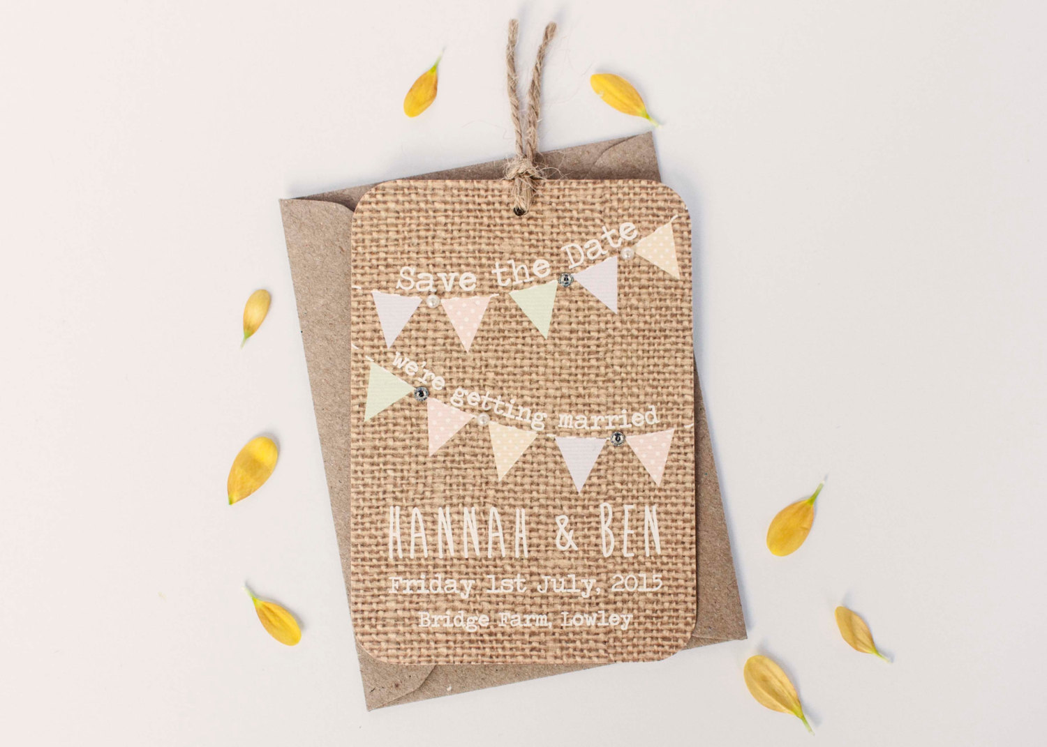 burlap save the date | 50 Best Burlap Wedding Ideas | via http://emmalinebride.com/decor/burlap-wedding-ideas/