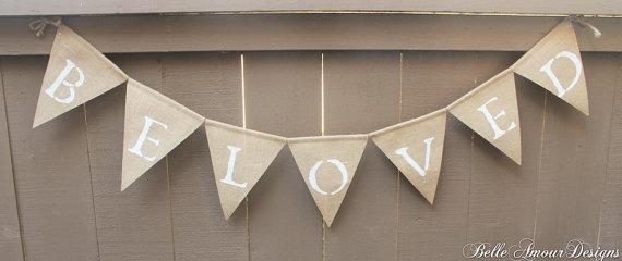 Burlap Wedding Banners - beloved