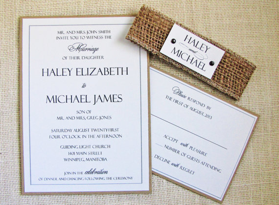 Rustic Wedding Invitations with Burlap