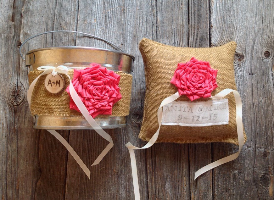 burlap wrapped flower pail and burlap ring pillow | 50 Best Burlap Wedding Ideas | via http://emmalinebride.com/decor/burlap-wedding-ideas/