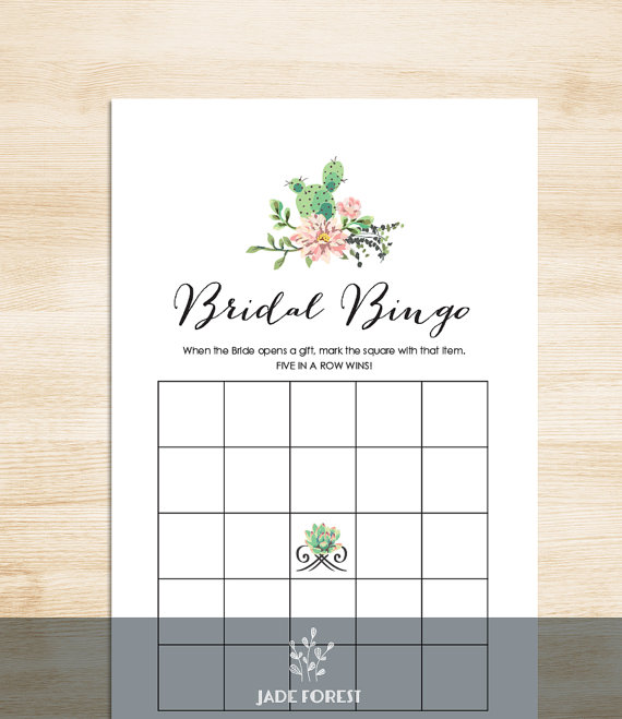 cactus bridal bingo by JadeForestDesign