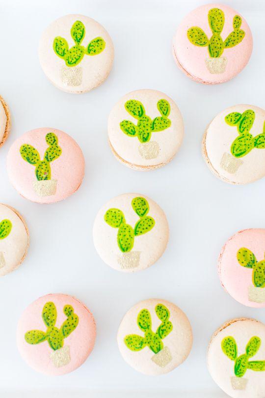 cactus macarons by lette macarons via sugar and cloth