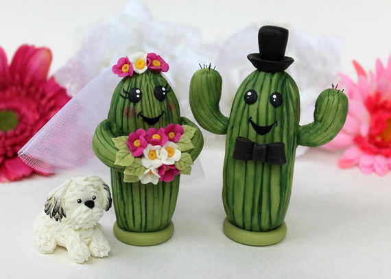 cactus wedding cake toppers by PerlillaPets