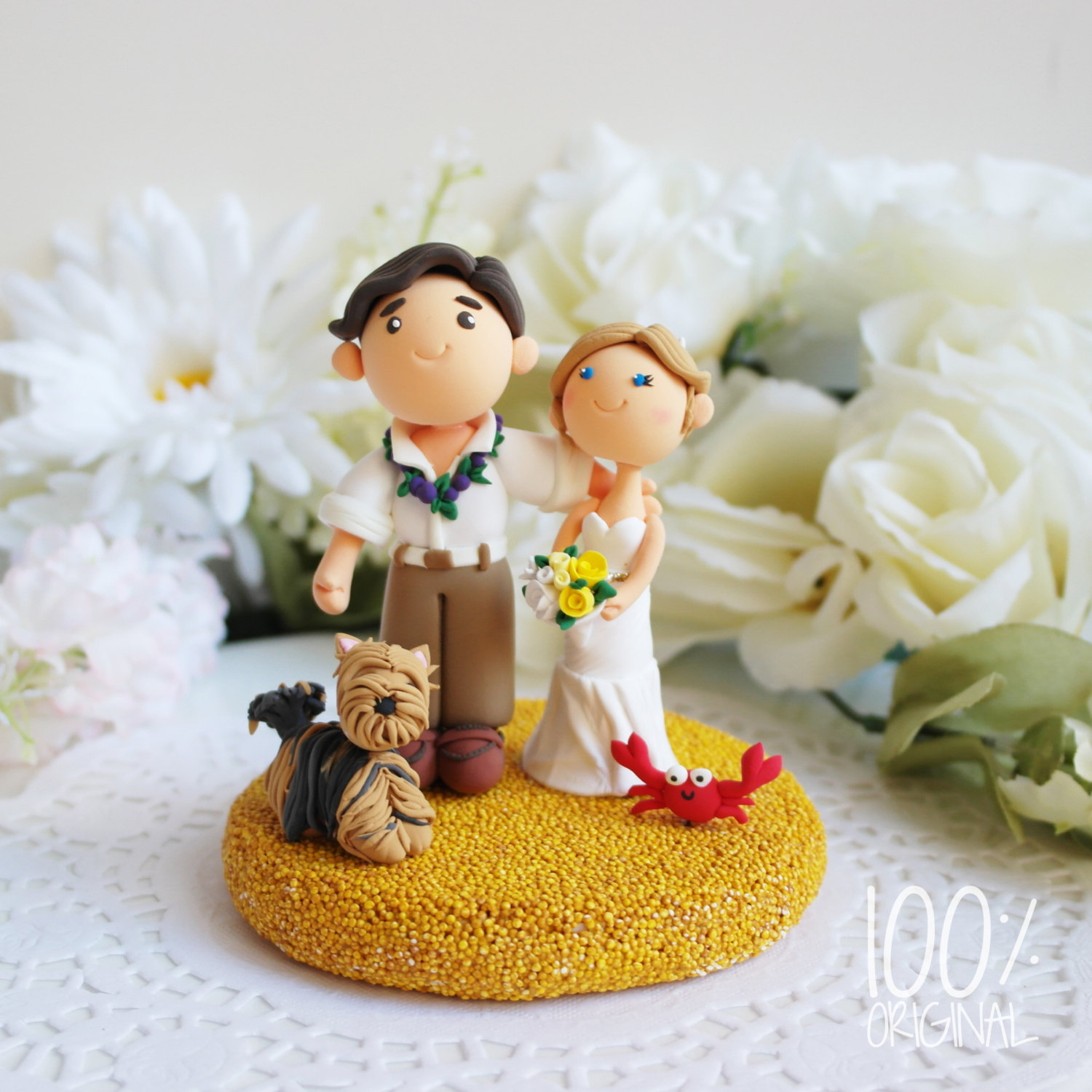 cake topper beach wedding yorkie - 9 Adorable Custom Made Cake Toppers via https://emmalinebride.com/decor/custom-made-cake-toppers/