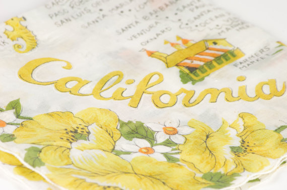 california state themed wedding hankie