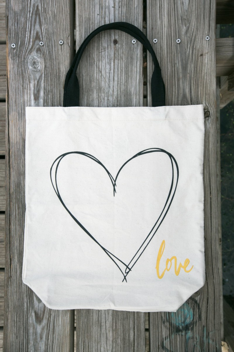 canvas heart tote bag