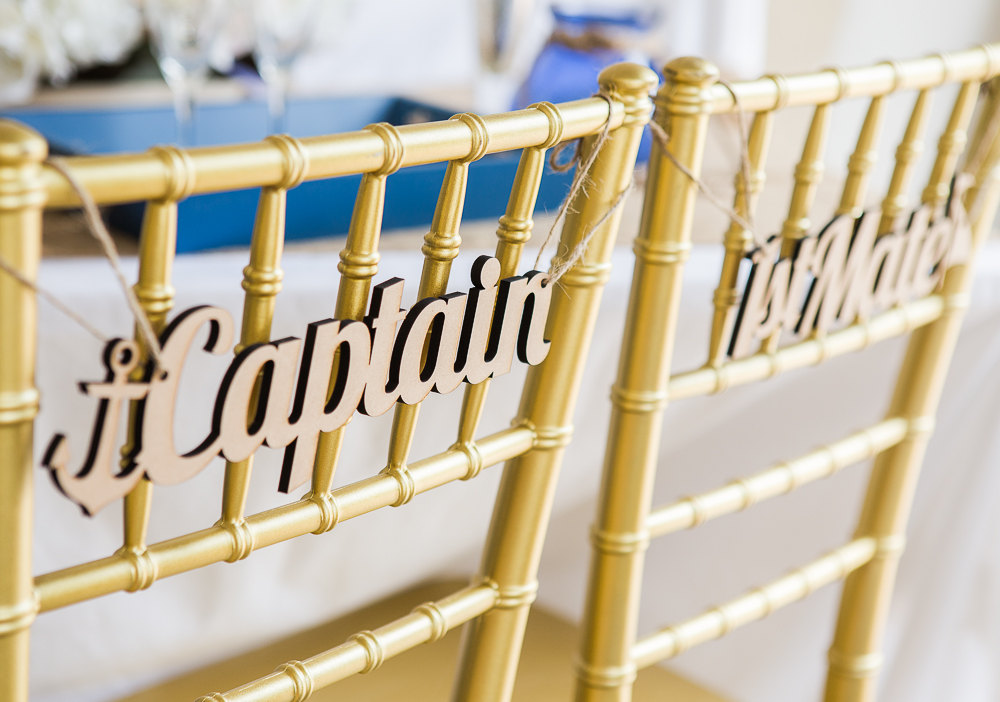 captain and mate chair signs | via bride and groom chair signs https://emmalinebride.com/decor/bride-and-groom-chairs/