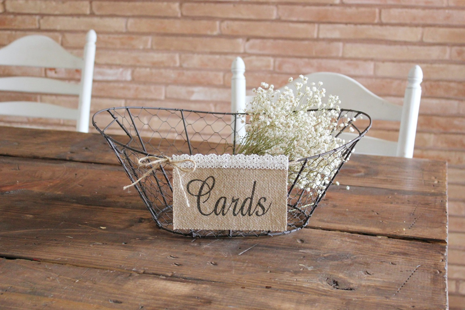 cards sign burlap for wire basket | 50 Best Burlap Wedding Ideas | via http://emmalinebride.com/decor/burlap-wedding-ideas/