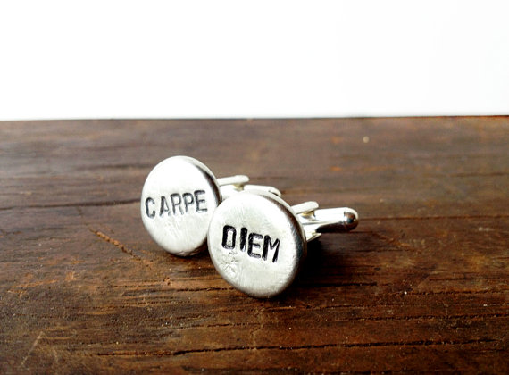 carpe diem | Custom Cufflinks Groomsmen Gifts | via EmmalineBride.com