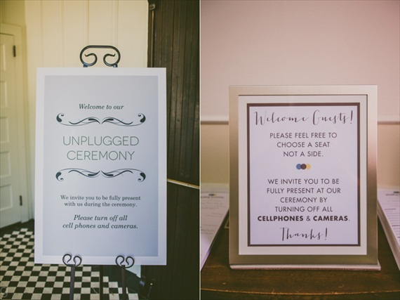 cell phones at weddings - sign examples