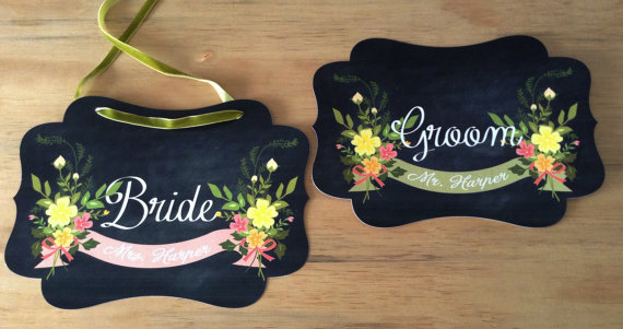 chair signs chalkboard | via bride and groom chair signs https://emmalinebride.com/decor/bride-and-groom-chairs/