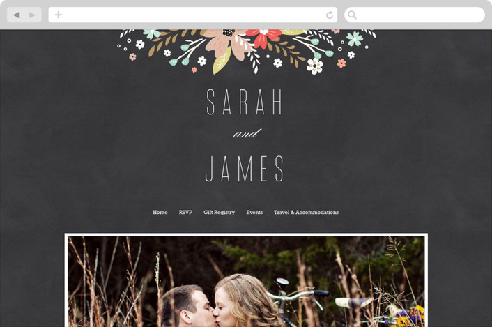 chalkboard floral wedding website