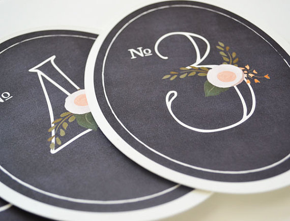 chalkboard inspired table numbers (by the first snow)