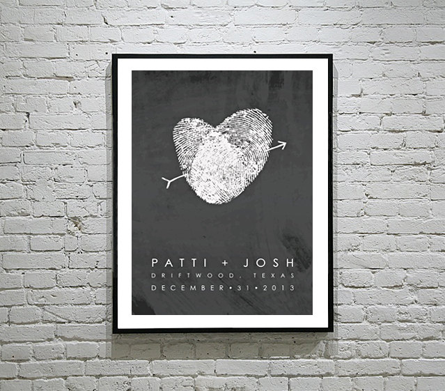 Wedding Fingerprint Guest Book Poster | https://emmalinebride.com/planning/wedding-fingerprint-guest-book/