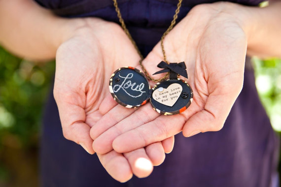 14 Chalkboard Wedding Ideas - chalkboard locket (by zelma rose)