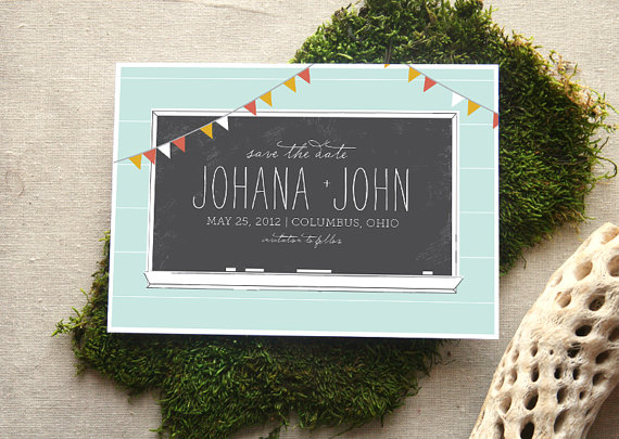 14 Chalkboard Wedding Ideas - chalkboard save the date (by cheer up press)