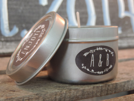 chalkboard style wedding candle favors