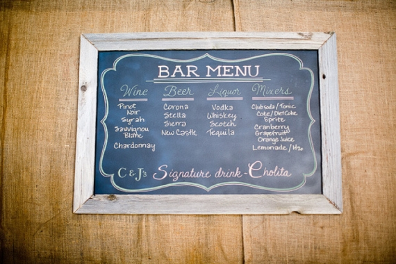 chalkboard wedding bar menu