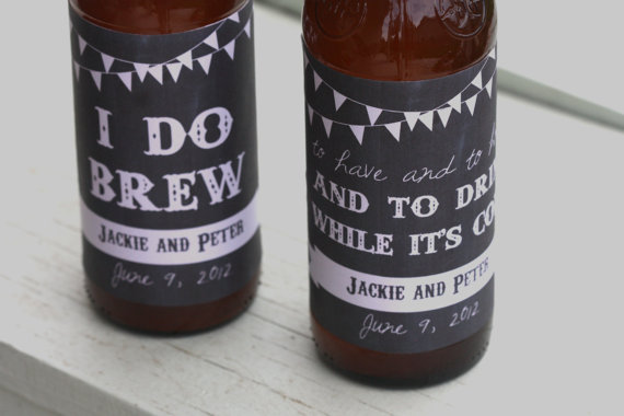 14 Chalkboard Wedding Ideas - chalkboard wedding beer labels (by bash studio)