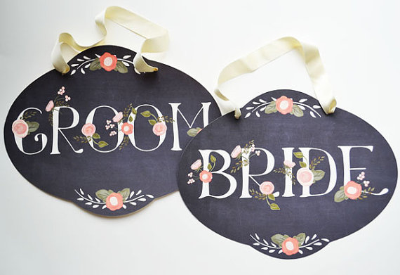 14 Chalkboard Wedding Ideas - chalkboard wedding chair signs (by the first snow)
