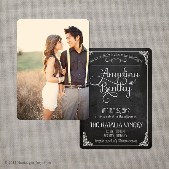 chalkboard wedding invitation with photo on reverse