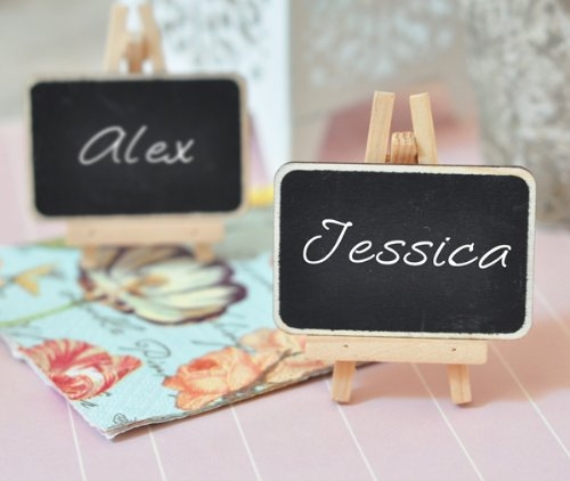 chalkboard wedding place cards and easels