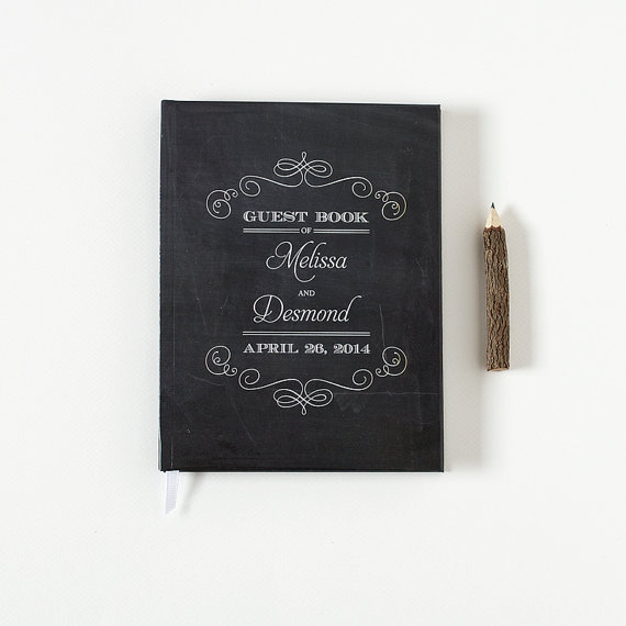 Custom Wedding Guest Book - by Crafty Pie Press - chalkboard