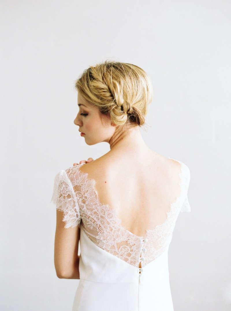 chantilly lace wedding gown with low back by saint isabel - 2