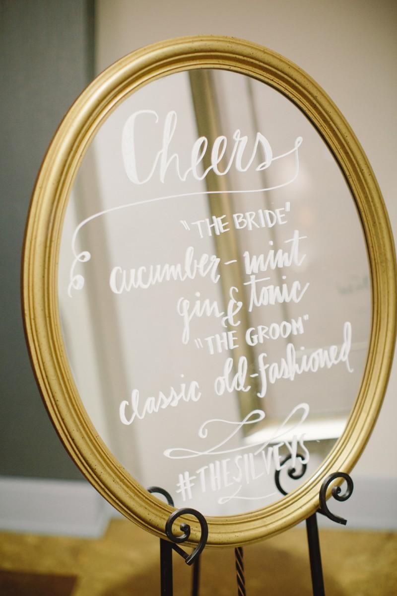 Cheers wedding mirror signs | http://emmalinebride.com/decor/wedding-mirror-signs/